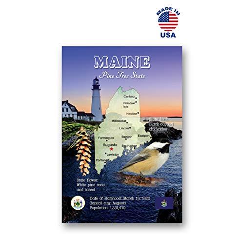 MAINE MAP Postkarten-Set mit 20 identischen Postkarten ME-Staatkarte Postkarten Hergestellt in den USA.