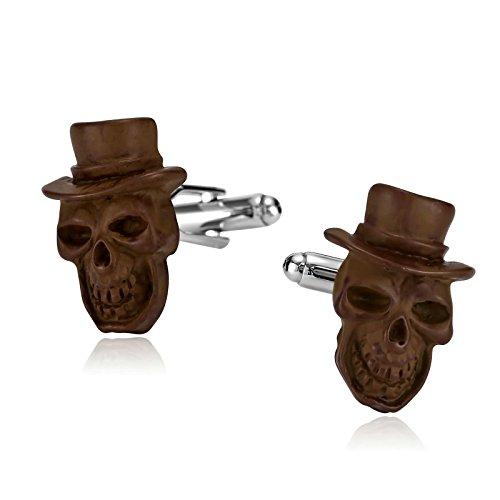 amdxd Jewelry Edelstahl Manschettenknöpfe für Herren Pirat Skull Totenkopf mit Hut braun 2,4x (Billig Hüte Piraten)