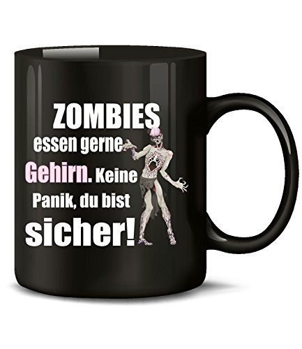 Golebros Zombies Essen gerne Gehrin Keine Panik du bist sicher 5127 Büro Handwerker Arbeitskollege Halloween Fun Spruch Tasse Lustig Becher Kaffeetasse Schwarz