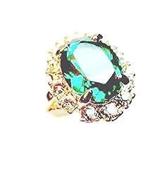 Idea Regalo - Angel for Angel® - Anello con smeraldo ovale, placcato oro bianco 18 carati, con cristallo austriaco e Lega, 54 (17.2), cod. 221493