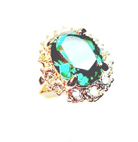 18 carats en or rose plaqué imitation émeraude de forme ovale bague de fiançailles avec cristal Taille : 52