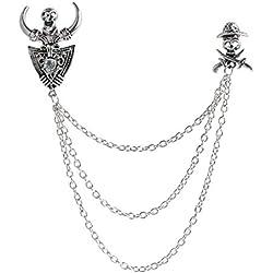 iiniim Broche Clip Vintage Collar con Cadena de Leopardo Triángulo Cráneo para Cárdigan Jersey Camisa Suéteres Chal Docoración Elegante Pin Joyería Accesorio Mujer Hombre Plateado Cráneo One Size