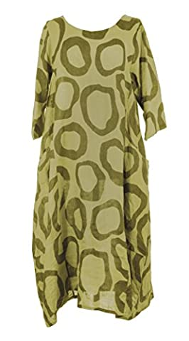 Ladies Womens Italian Lagenlook Quirky Short Sleeve Abstract Circle Print 2 Side Pocket Linen Long Dress One Size UK 12-16 (One Size, Lime Green)
