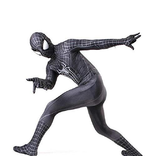 ZHANGQI Marvel Spiderman Kostüm Erwachsene Cosplay Zentai All-Inclusive-Strumpfhose 3D-Druck Spandex Lycra Unisex Erwachsene Kinder Geschenk,Black-S (Mary Jane Spiderman Kostüm)