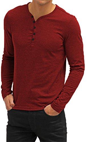 AIYINO Herren T-Shirt mit V-Ausschnitt Kontrast 100% Baumwolle Casual Cardigan 7-Langarm-Rot