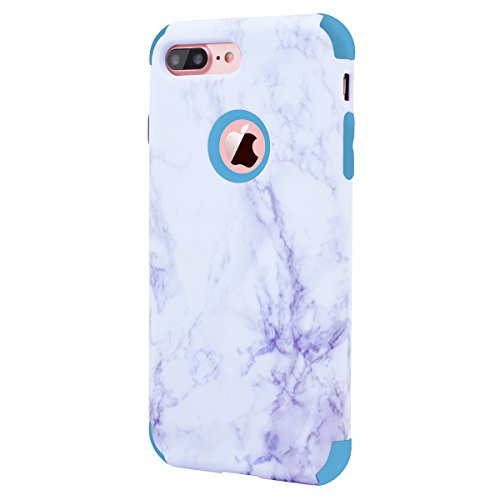 WE LOVE CASE iPhone 7 Plus / iPhone 8 Plus Cover Marmo 360-Grad All Inclusive Full Screen Protection Anti-Drop iPhone 7 Plus / iPhone 8 Plus 5,5 Custodia Rose Oro Cassa Duro del PC di Plastica e Sili blue
