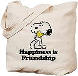 Einkaufstasche mit Aufschrift'Happiness is Friendship', naturbelassen