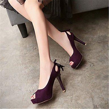 LvYuan Da donna-Sandali-Ufficio e lavoro Formale Casual-Altro-A stiletto-Velluto-Nero Rosa Viola Purple