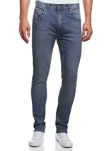oodji Ultra Uomo Jeans Basic Slim, Blu, 33W/34L (IT 48 / EU 33 / L)