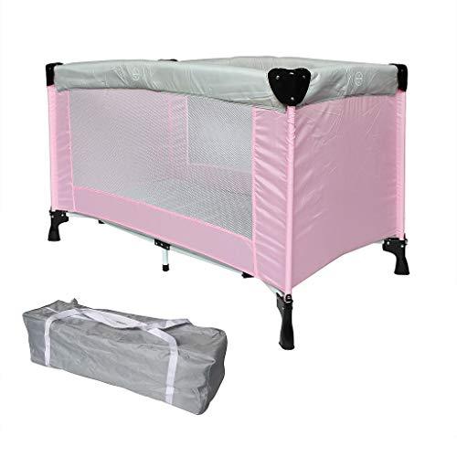 Sotech Kinder Reisebett mit Tragtasche, Babyreisebett CE-Standard, Kinderreisebett klappbar, Laufstall Baby 125 x 65 x 76 cm, Pink