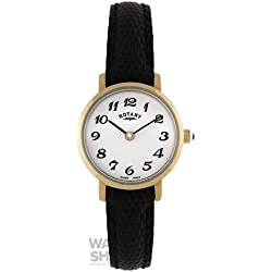 LS00760 Ladies Rotary Round White Face Black Leather Strap Watch
