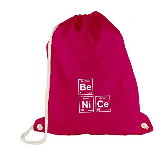 Turnbeutel - Chemie - Be Nice - Fun Sei Nett Freundlich Nerdy Style, Pink