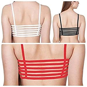 Women's Cotton Lightly Padded Wired Sports Bra (Pack of 3) (N6STG_Red, White & Black_Free Size)