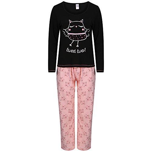 Pigiama da donna a maniche lunghe in jersey di cotone, motivo: uccello, bulldog francese o gufo, taglie: 42-44, 46-48, 50-52 Black/pink Small