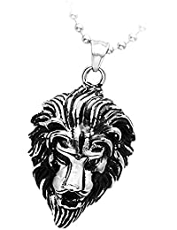 Phenovo Gothic Punk Black Silver Lion Head Pendant Necklace Women Men's Stainless Steel Chain Jewellery