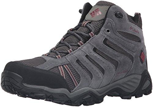 Columbia Mens North Plains II Waterproof Mid Hiking Boot Dark Grey, Garnet Red