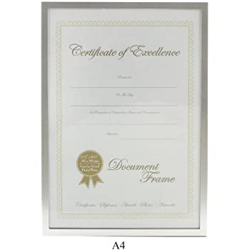 Premium Silver A4 Aluminum Certificate Photo Frame by Living Images