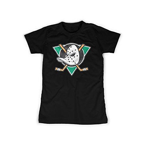 licaso Frauen T-Shirt mit Aufdruck in Schwarz Gr. XL Ente Eishockey Team Design Girl Top Mädchen Shirt Damen Basic 100% Baumwolle Kurzarm