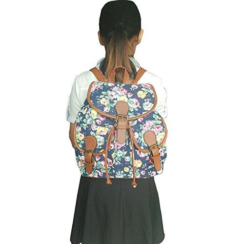 Owbb Le Donne Borsa Tela College Stile Zaino Moda Vintage Ragazze Casual Borsa Cute Scuola Borsa -Blu elefante bsjw-32