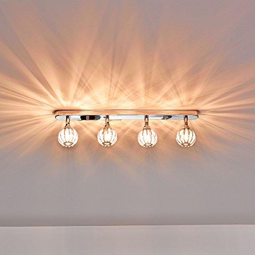 Deckenleuchte / Deckenlampe von [lux.pro]® - Modernes Design: Kristall-Kugeln auf Aluminium & Kunst-Kristall - 49 cm Leuchte - 4 x G9 Sockel - Lampe für Wohnzimmer & Schlafzimmer Kleine Kristall-leuchte