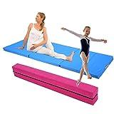 GOTOTOP 2,2M Gymnastik Zusammenfaltbar Schwebebalken Strapazierfähige Fitness + Weichbodenmatte Gymnastikmatte Turnmatte Bodenmatte Klappbar 180x60x5cm (Rosa Schwebebalken+ Blau Gymnastikmatte)