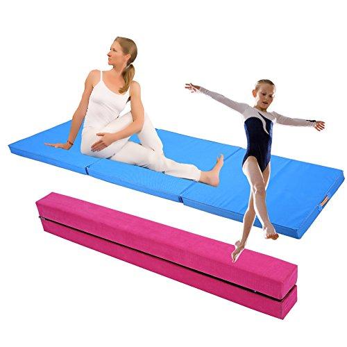GOTOTOP 2,2M Gymnastik Zusammenfaltbar Schwebebalken Strapazierfähige Fitness + Weichbodenmatte...