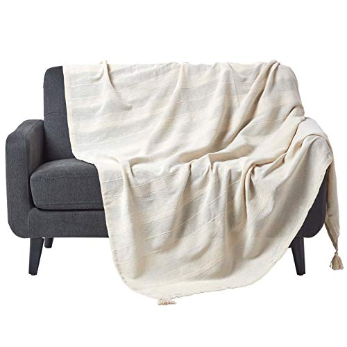 Homescapes Tagesdecke/Sofaüberwurf/Plaid Rajput in Natur/Creme - 225 x 255 cm - handgewebt aus 100% Reiner Baumwolle in RIPP-Optik -