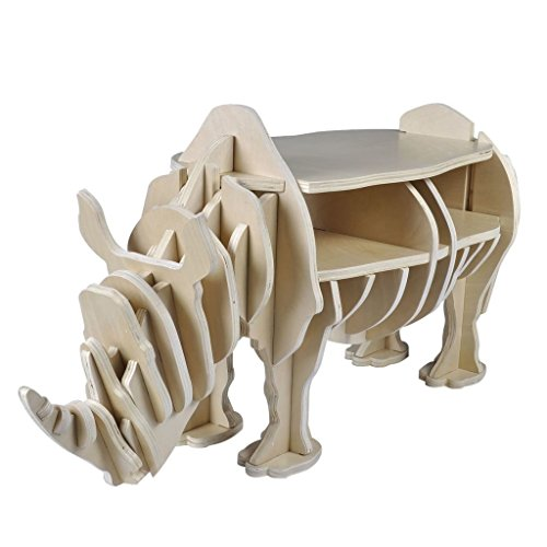 vidaXL Etagère en bois forme de rhinocéros étagère de rangement décoration table basse
