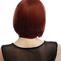 HSG elegante signora parrucche ramati scoppi accurati bob parrucche breve rettilineo cosplay del partito parrucche piene per le donne bellezza TF1143