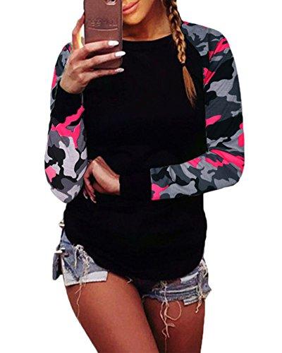Camicetta Blusa Manica Lunga Casual Elegante Girocollo T-shirt Maliga per Donna Rosso