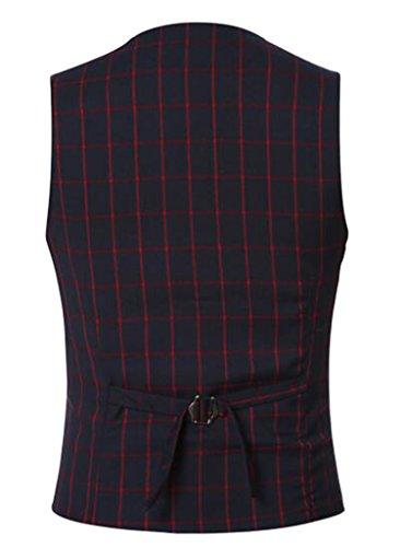 DD UP Herren Cotton Slim Fit V-Ausschnitt Druckknopf Blazer Waistcoat Ohne Arm Anzug Weste Rot