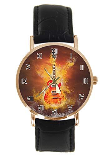 Armbanduhr, Motiv: Collage von Rock-Gitarre, klassisch, Unisex, analog, Quarz, Edelstahlgehäuse, Lederarmband
