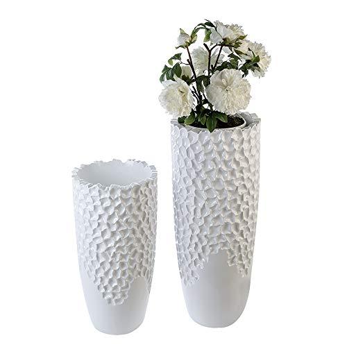 Casablanca - Pflanzgefäß Carve aus Poly/Fiberglas - weiß Topf: Ø 28 cm/Höhe 21 cm wasserdicht