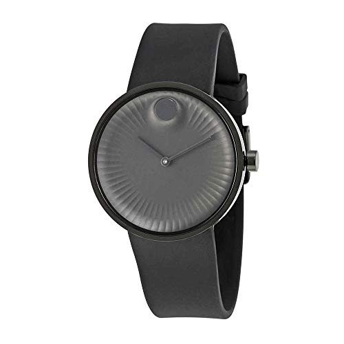Movado Men's Watch 40mm Black Rubber Bracelet Stainless Steel Case Sapphire Glass Battery 3680005