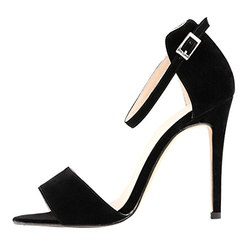 Azbro Stunning Solid Open Toe Ankle Straps Stiletto High Heels Black