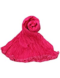 Womens Cottage Women's Fuchsia Solid (Plain) Pure Cotton Free Size Dupatta And Stoles With Designer Lace