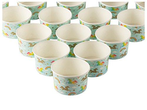 Coupe Glacée Tasses-Lot de 50Papier jetables à dessert Ice Cream Yoghourt bols fête, Rainbow Unicorn, 226,8gram (Frozen Teller Dessert)