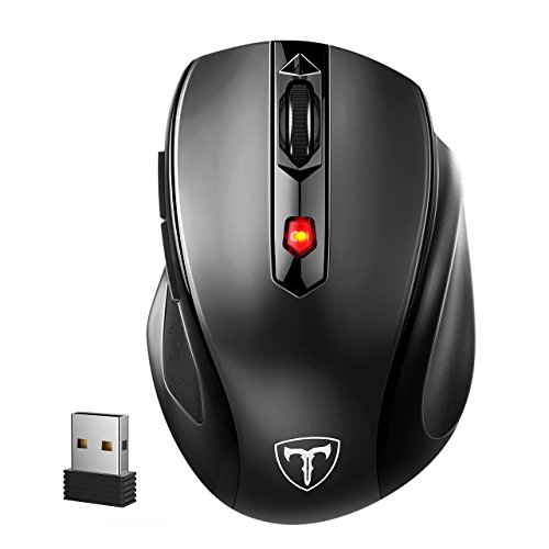 VicTsing Mouse Wireless 2400DPI, Mouse Senza Fili 2.4G con Ricevitore Nano, 24 Mesi di Batteria Durata, Compatibile con Windows 10/8/7/XP/Vista, per PC Mac, Nero