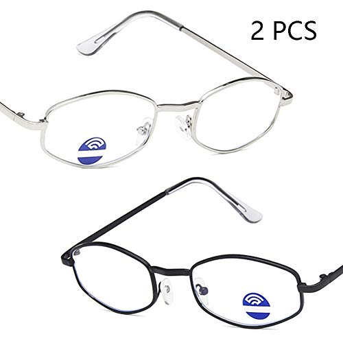 FZXHJ 2019 Neue Anti-Blau Brille, Retro Hexagonal Metall Gezeiten-Glas-Rahmen, Computer Handy-Spiele Anti-Radiation Anti-Fatigue Brille, Unisex (2ST),3