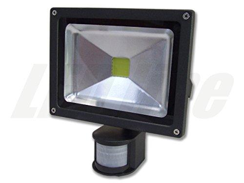 LED Strahler mit Bewegungsmelder, LED Fluter, 20 Watt Warmweiss LED Flutlicht, 20W 1800 Lumen Ersetzt 200 Watt, 220-240V, PREMIUMLUX
