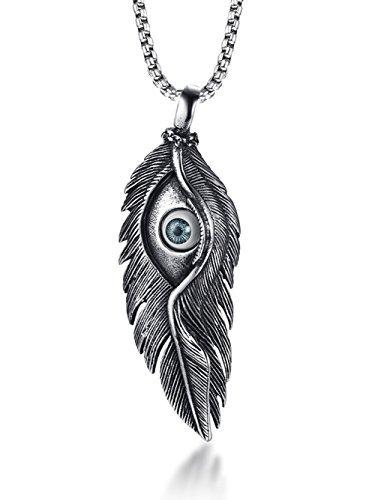 HUANIAN Glücksschutz blaues Auge Edelstahl Federn Charm-Anhänger Halskette mit Kette 61 cm