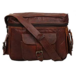 E-Tailor Cameron Vintage and Rustic Look Leather Dark Brown Zip Closure Soft Cushion DSLR SLR Camera Bag