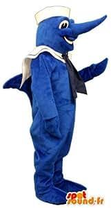 Mascotte SpotSound Amazon personnalisable d'espadon bleu en tenue de matelot. Déguisement d'espadon