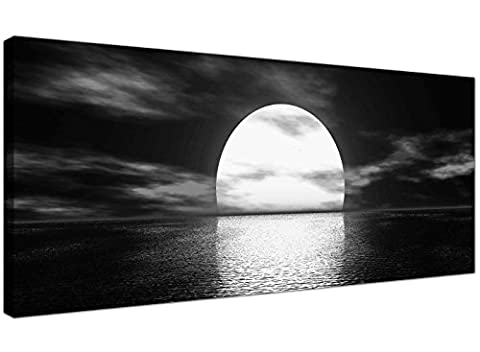 Modern Black and White Canvas Wall Art of a Tropical Ocean Sunset - Sea Canvas Pictures - 1003 -