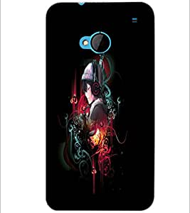 PrintDhaba Music D-4029 Back Case Cover for HTC ONE M7 (Multi-Coloured)
