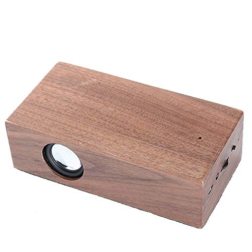 LOEROY Holz Bluetooth Lautsprecher, Echtholzgehäuse Induktionslautsprecher walnuss-Holz, drahtloser Mini-Lautsprecher mit verstärktem Resonator-Soundeffekt