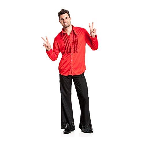 (Kostümplanet Rüschenhemd rot Herren Rüschen-hemd 70er Jahre Größe 52/54)