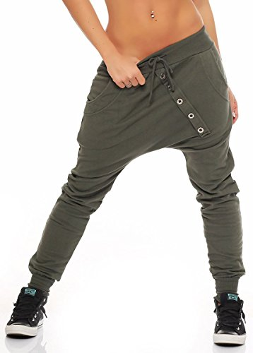 Malito Damen Sweathose in Unifarben | Baggy zum Tanzen | Jogginghose mit Knopfleiste | Sweatpants - Trainingshose 8023 (Oliv)