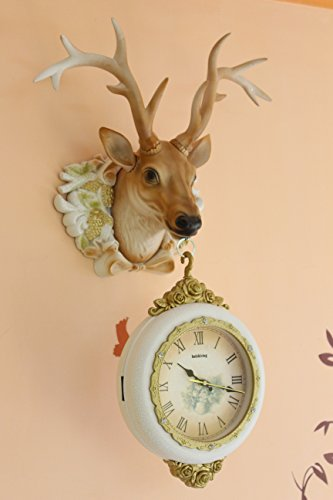 FunkyTradition Royal Multicolor Dual Hanging Reindeer Wall Clock| Wall Watch | Wall Clock for Home Office Decor and Gifts 75 cm Tall