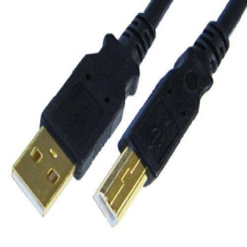 5 m cavo USB - 24 K placcato oro - A maschio A B maschio - ad alta velocità v2,0 (480Mbps) - nero - costampato - Per Epson, HP, Canon & Lexmark Stampanti